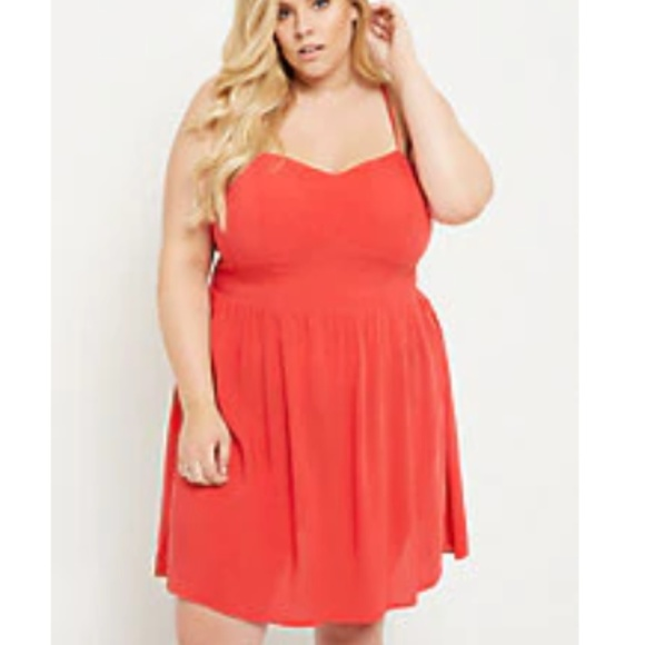 88c65d810fb77 NWT Plus Size Red Built In Bra Swing Skater Dress